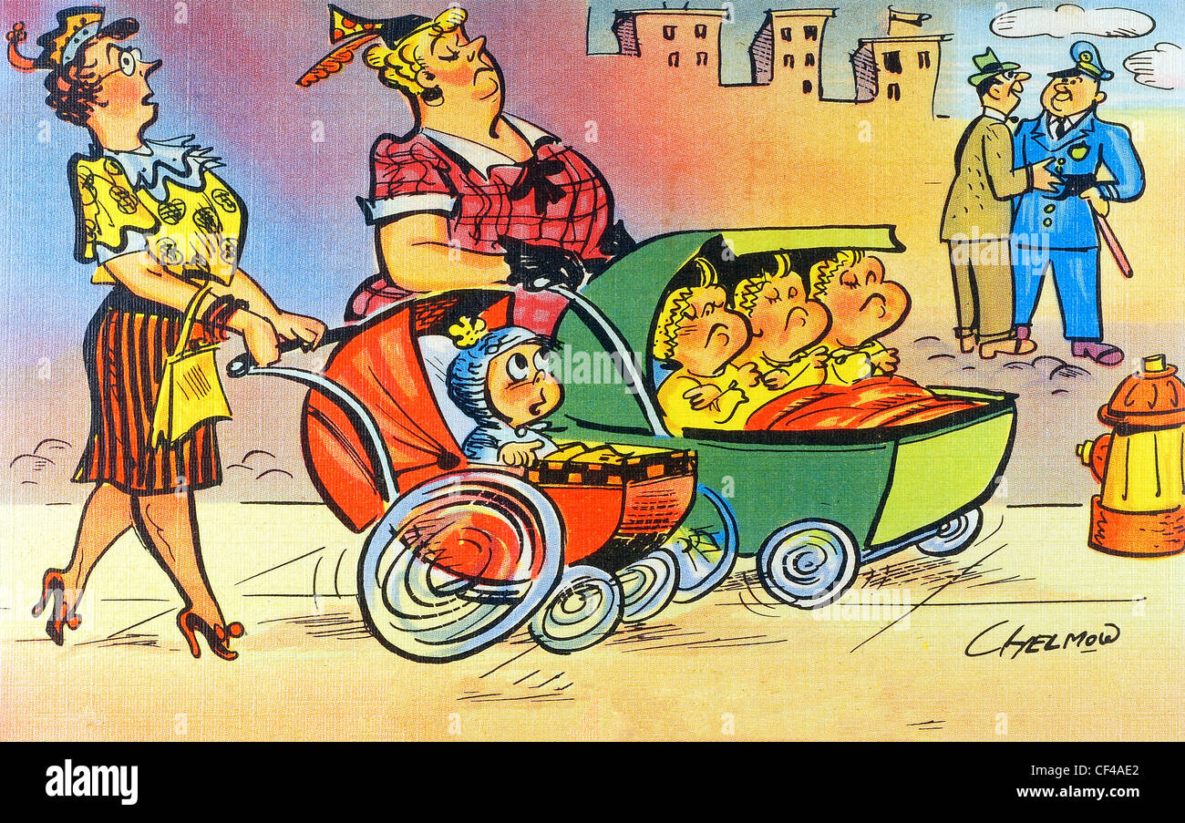 Vintage comic post card by Chelmow Munson Faber of two women pushing strollers competing for space - Stock Image