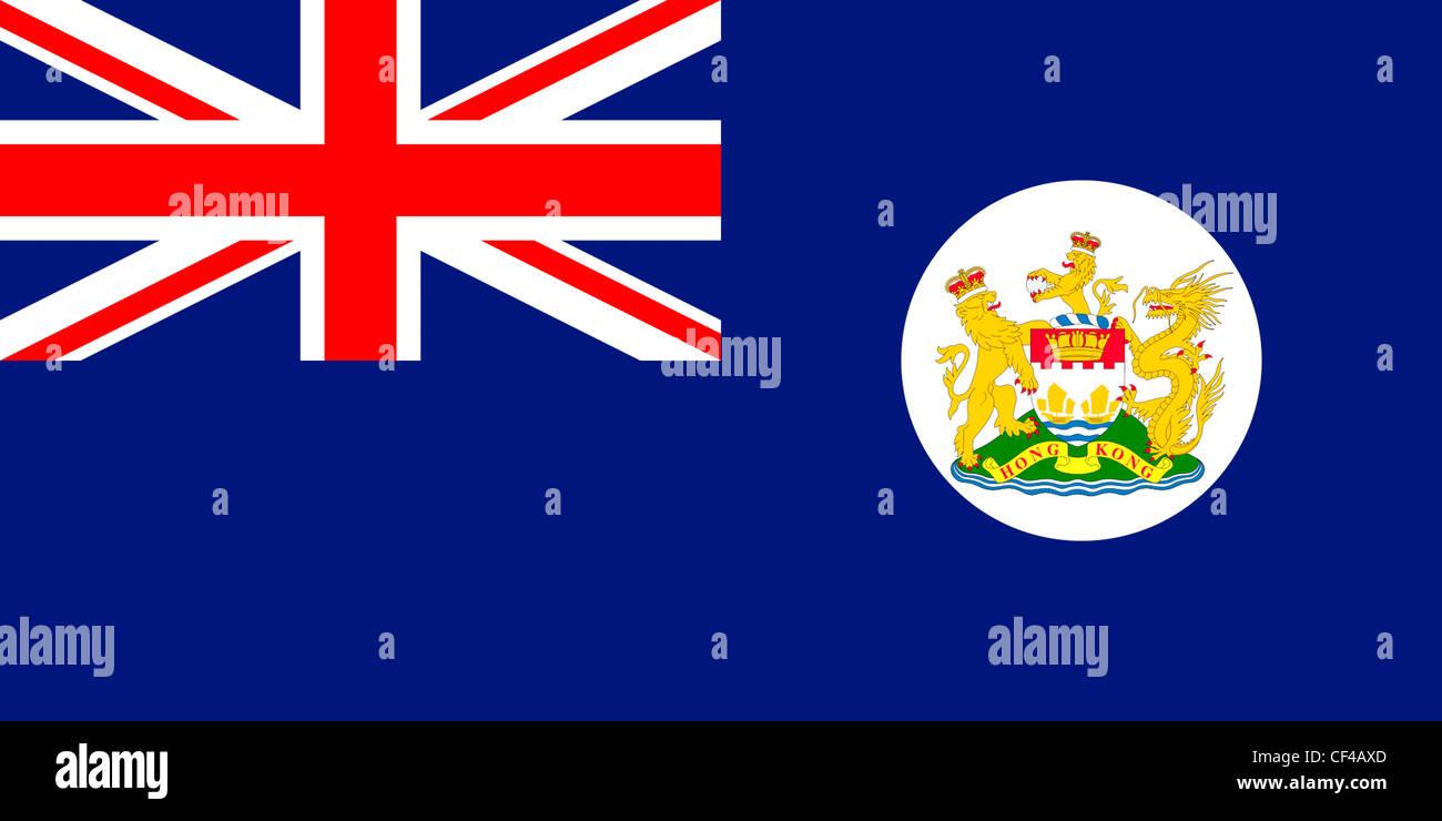 Flag of British crown colony Hong Kong - 1959 to 1997. - Stock Image