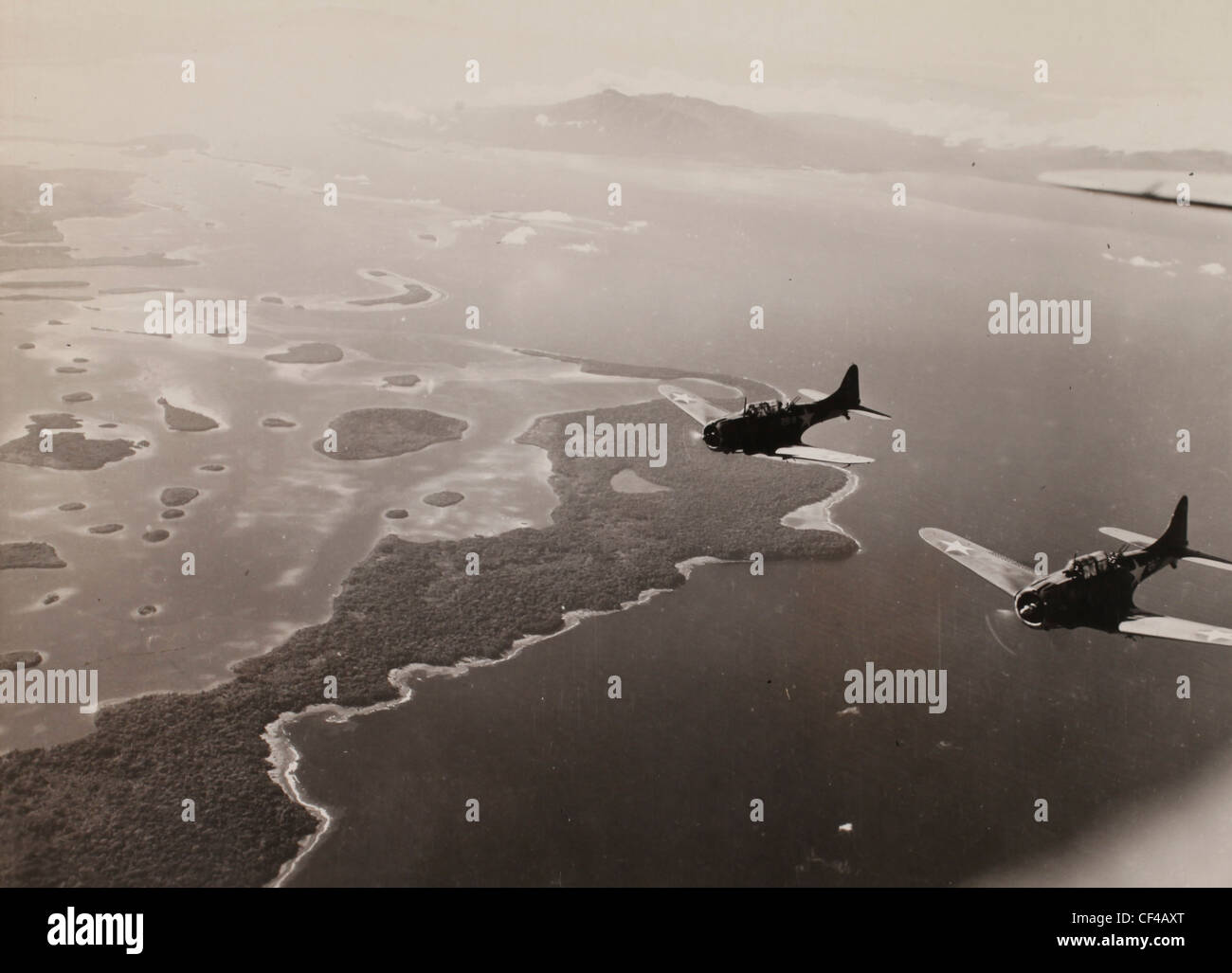 A the bulldog approached the target. Dive bombing mission to Kolombangara, Guadalcana. WWII Pacific campaign Marines - Stock Image