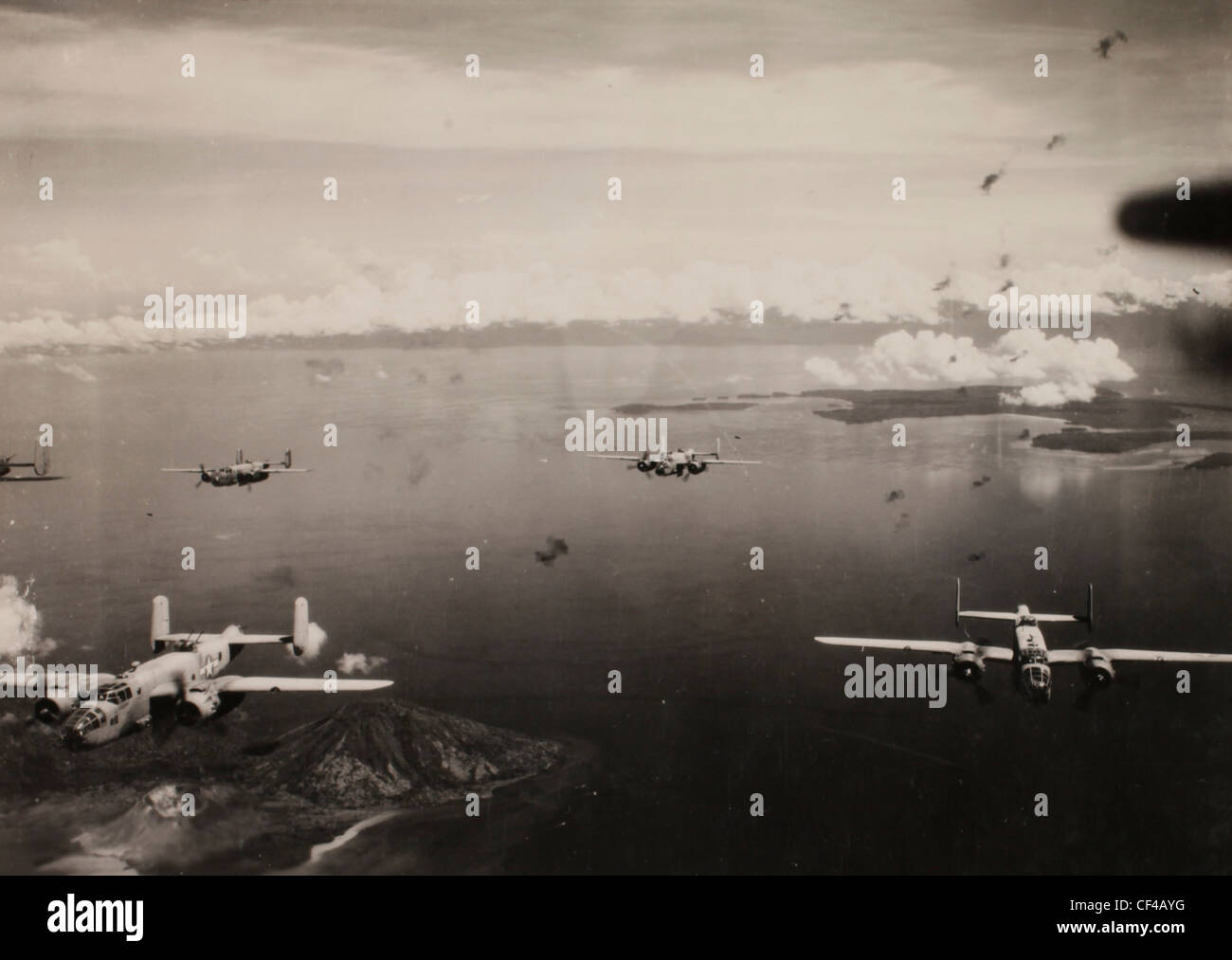 Aerial scene of the PBJ planes in flight on mission over Rabaul. Marine bombing squadron 443. Guadalcanal. Pacific - Stock Image