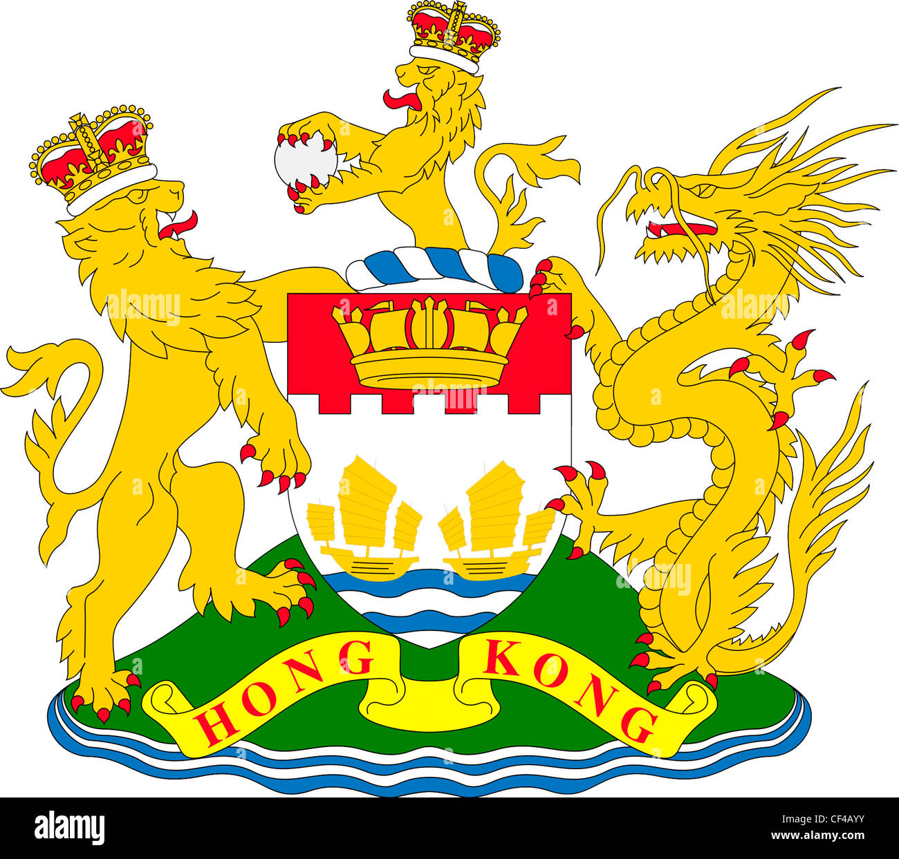 Coat of arms of British crown colony Hong Kong - 1959 to 1997. - Stock Image