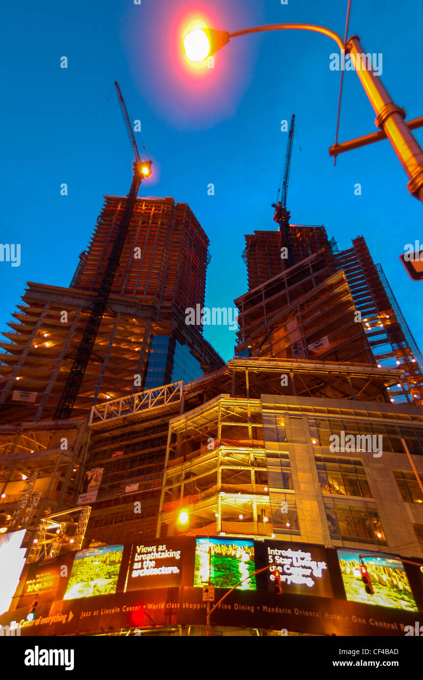 New York City, NY , U.S.A. - AOL Corporate Headquarters Building, Construction Site, Columbus Circle, Night, - Stock Image