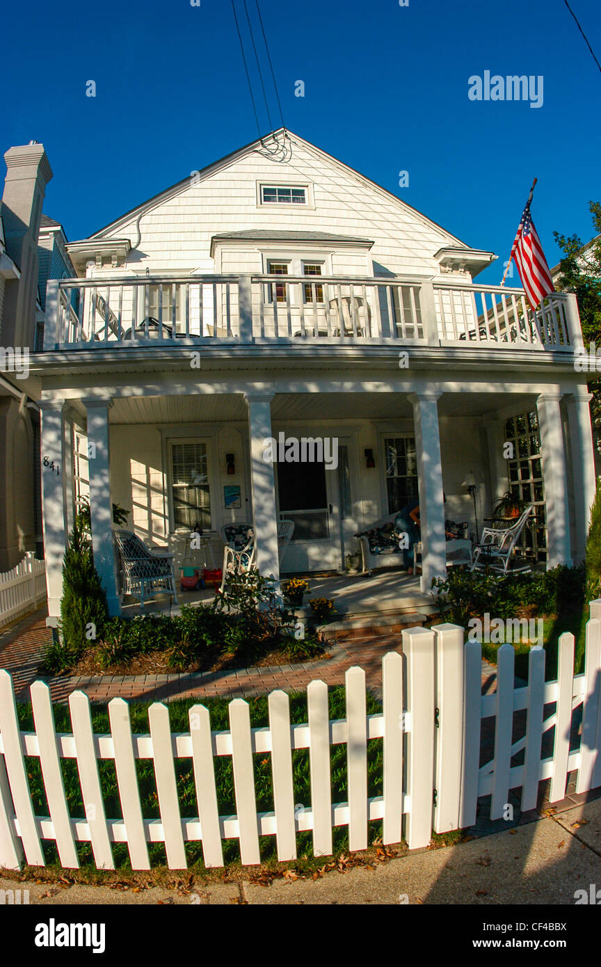 Ocean City, N.J. U.S.A.- Front of Old Wooden Guest House, Cottage, With Picket Fence, - Stock Image