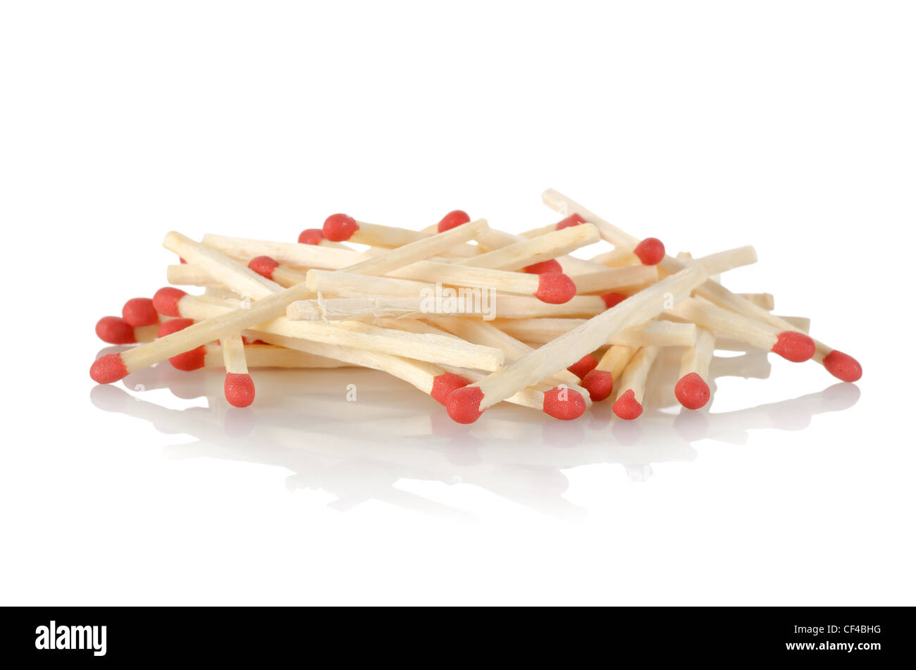 Match sticks isolated on a white background - Stock Image