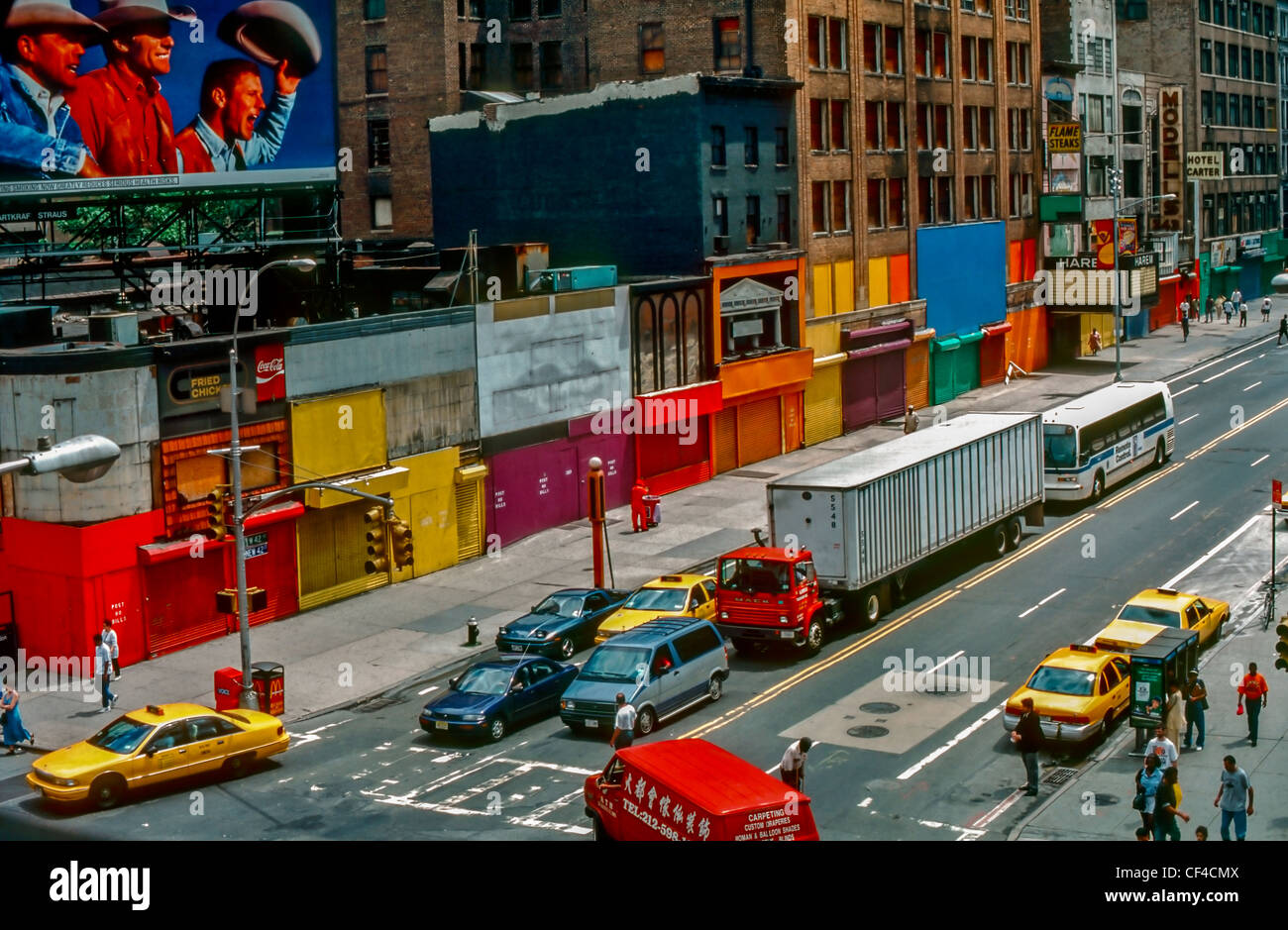 New York, NY , U.S.A. - High Angle, Buildings on West 42nd Street, Traffic on Street - Stock Image