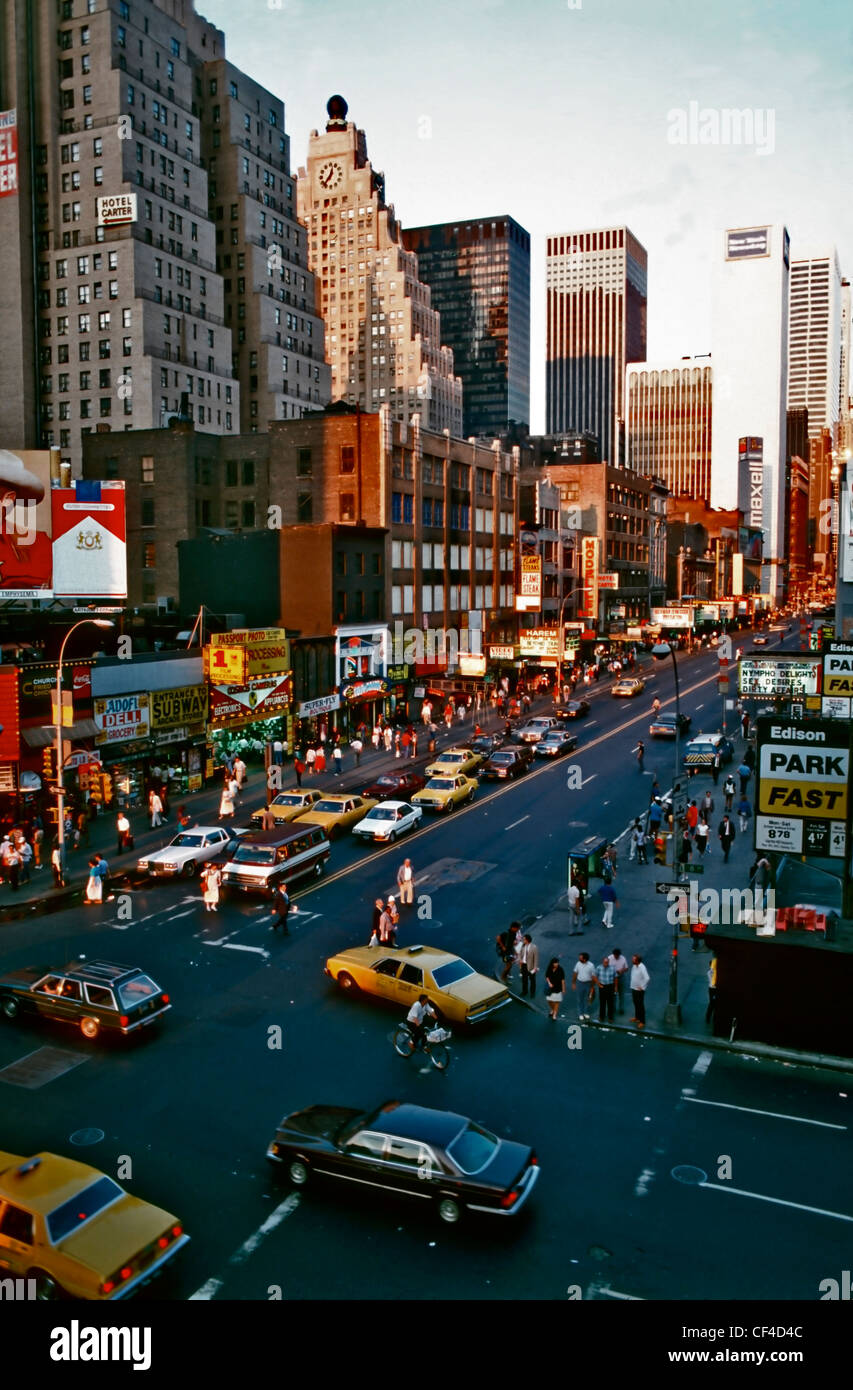 New York City, NY , U.S.A. -  High Angle, Cityscape, Buildings on 'East 42nd St' & 8th Avenue, 1980s - Stock Image