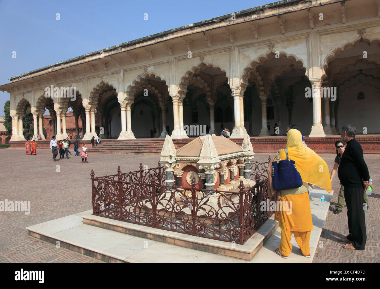 India, Uttar Pradesh, Agra, Fort, Diwan-i-Am, Hall of Public Audiences, John Colvin grave, - Stock Image