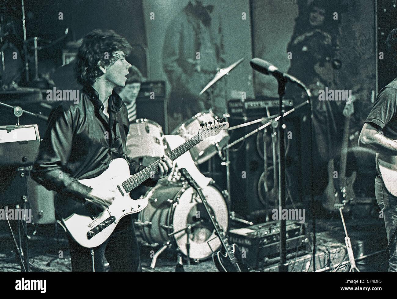 New York, NY, USA - C.B.G.B.'s Nightclub, Interior Scene, with 'The Talking Heads', Guitarist performing - Stock Image