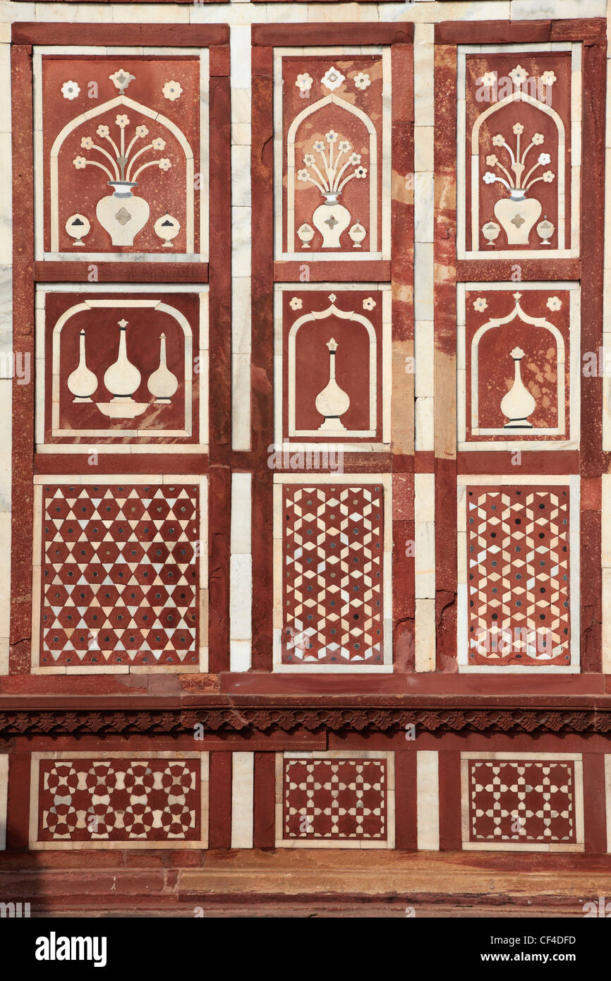 India, Uttar Pradesh, Agra, Itimad-ud-Daulah, gate, detail, Stock Photo