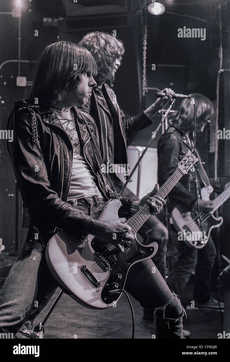 New York, NY, USA - C.B.G.B.'s Nightclub, Interior, with The Ramones, Punk Rock Band Playing on Stage, Johnny - Stock Image