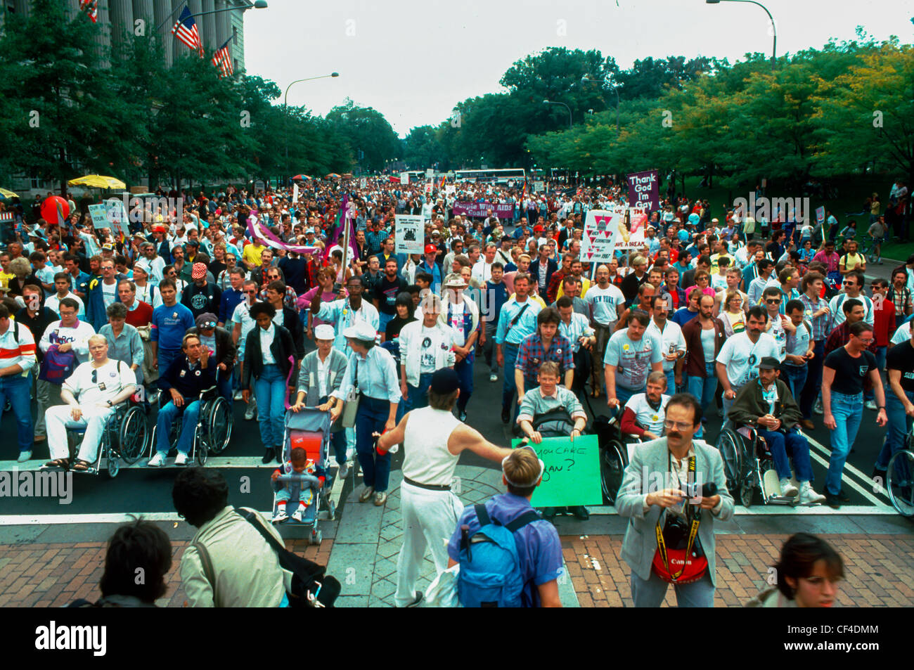 Aerial View, March on Washington DC, USA, Demonstration of AIDS Activists Against (Former) U.S. President Reagan Stock Photo