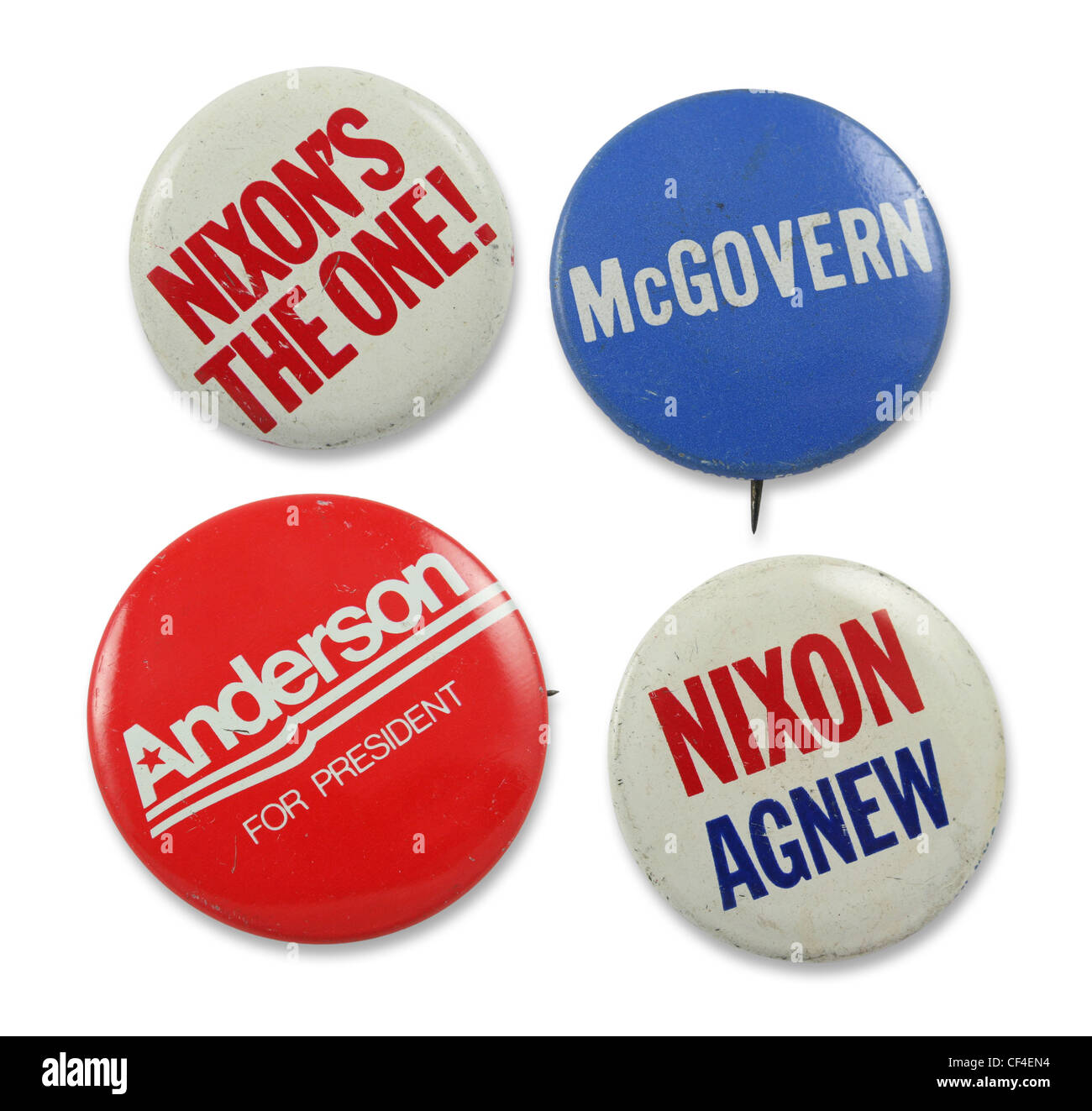 Group of assorted 1960s and 1970s political pins. - Stock Image