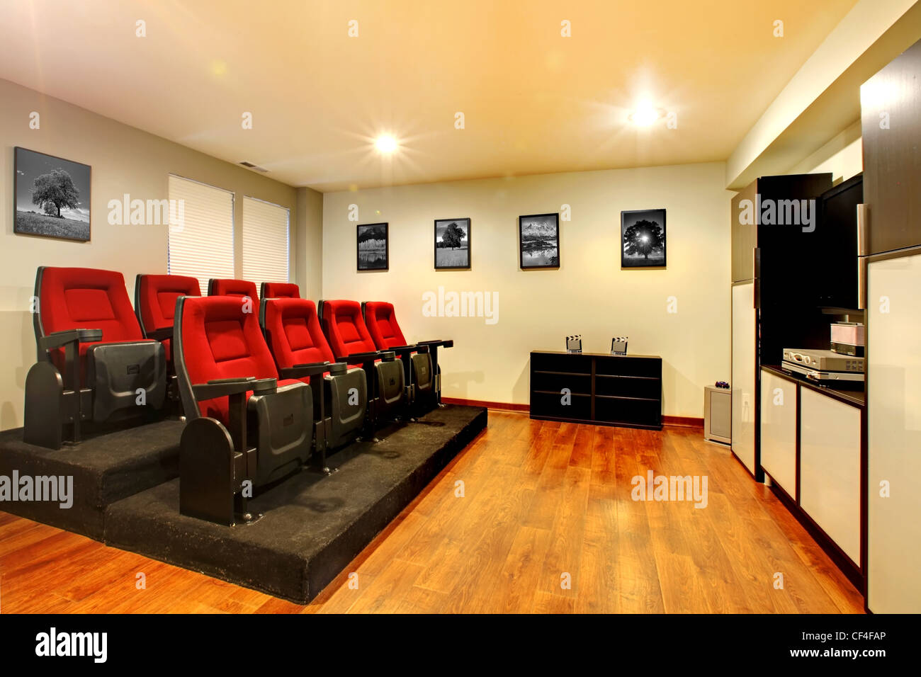 Home TV movie theater entertainment room interior with real cinema ...