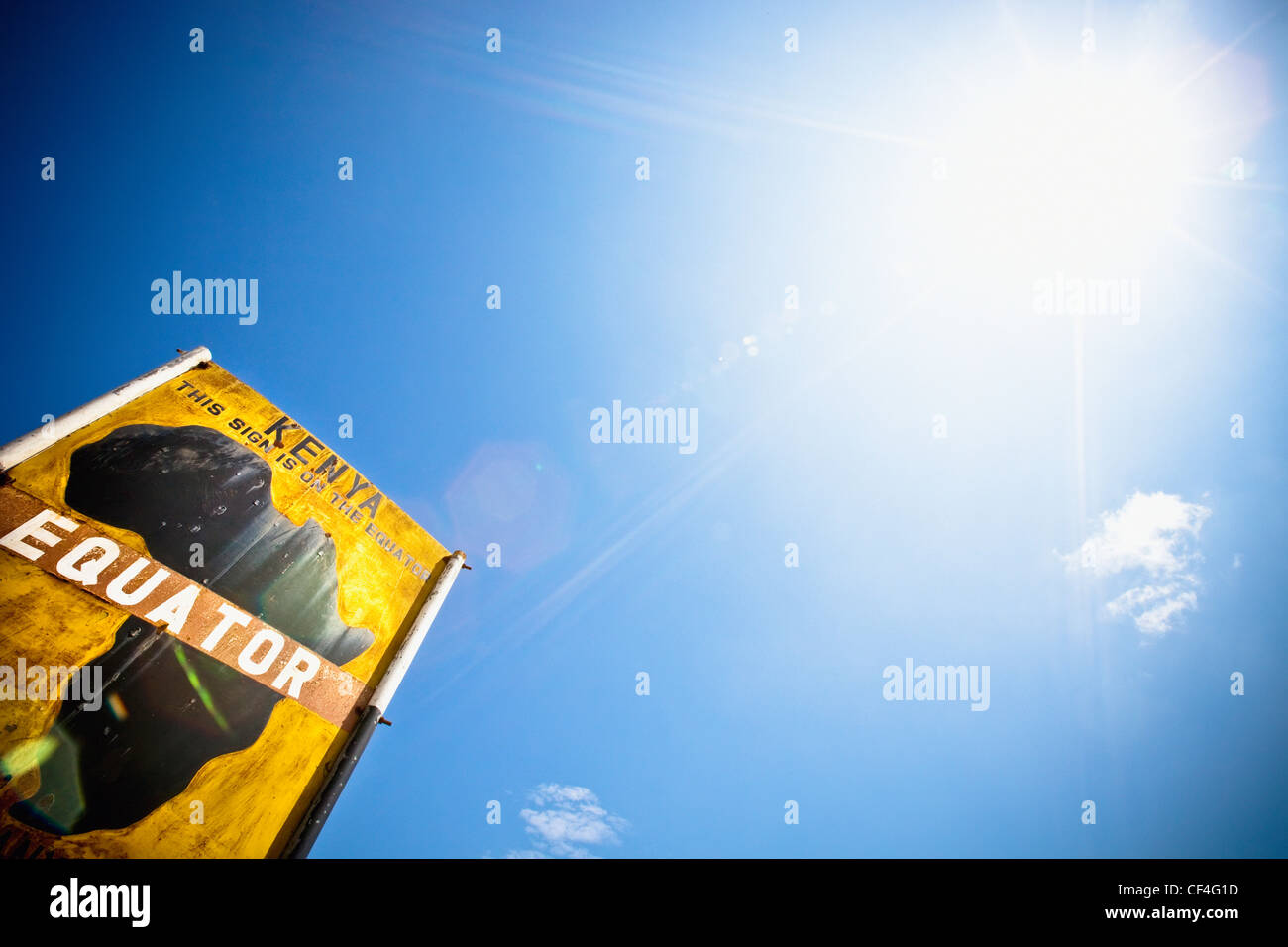 Low Angle View Of A Sign On The Equator; Kenya Africa - Stock Image