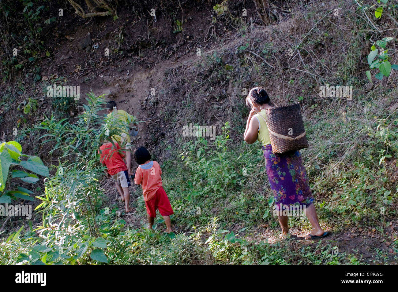 A Karen refugee woman from Burma is walking in Salawin National park with her children near Ban Tha Ta Fang, Northern - Stock Image