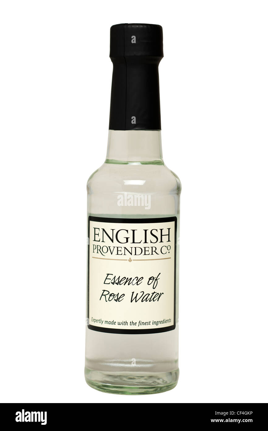 Bottle of English Provender Co Essence of Rose Water with work path Stock Photo
