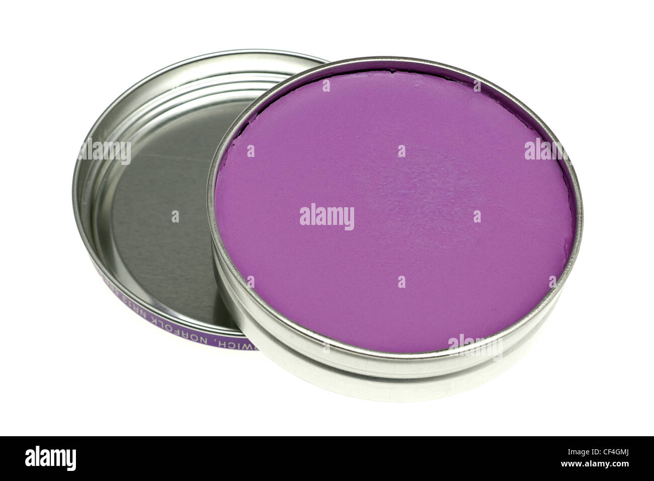 Tin of non silicone Wood Silk lavender polish - Stock Image