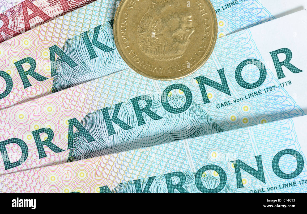 Swedish crowns are one of the most stron currencies in Europe - Stock Image