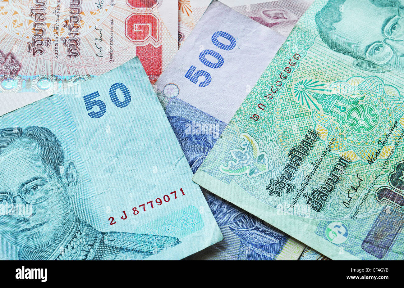 Baht is the currency of Thailand - Stock Image