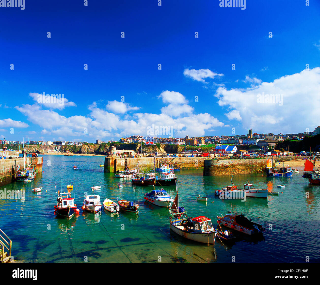 The 17th century harbour at Newquay. The harbour was central to the heyday of the Cornish Pilchard industry. - Stock Image