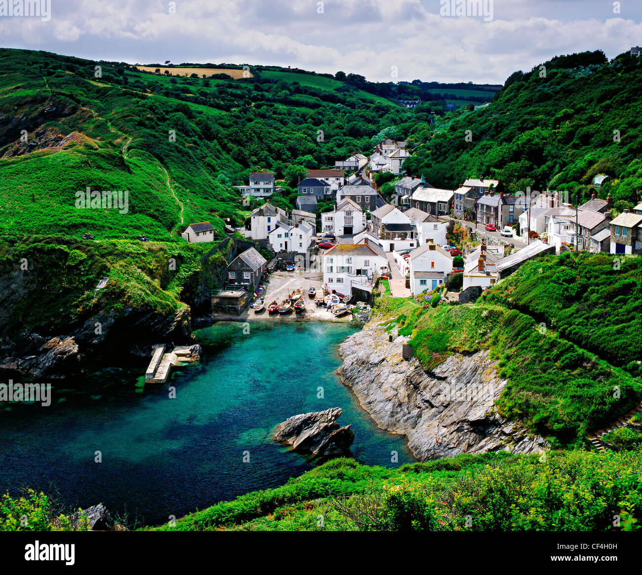 Portloe, a small, unspoilt, fishing village on the Roseland Peninsula, 12 miles from both Truro and St. Austell. - Stock Image