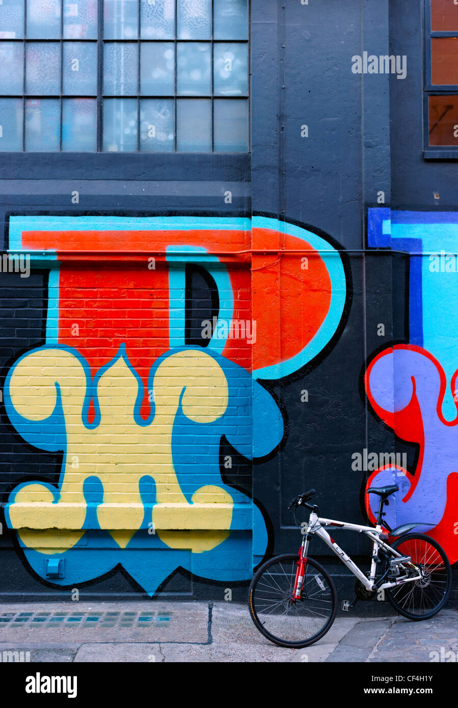 Street art on a building in Ebor Street in the east end of London. Stock Photo