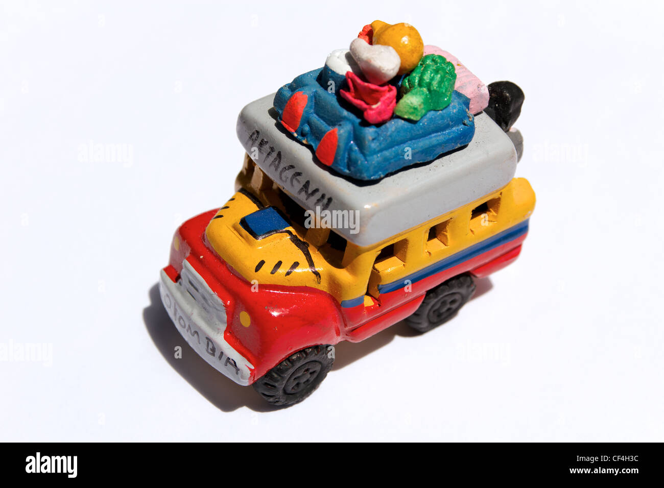 Close-up of a hand-crafted model of a 'Chiva', a truck chassis modified as a typical means of public transport - Stock Image