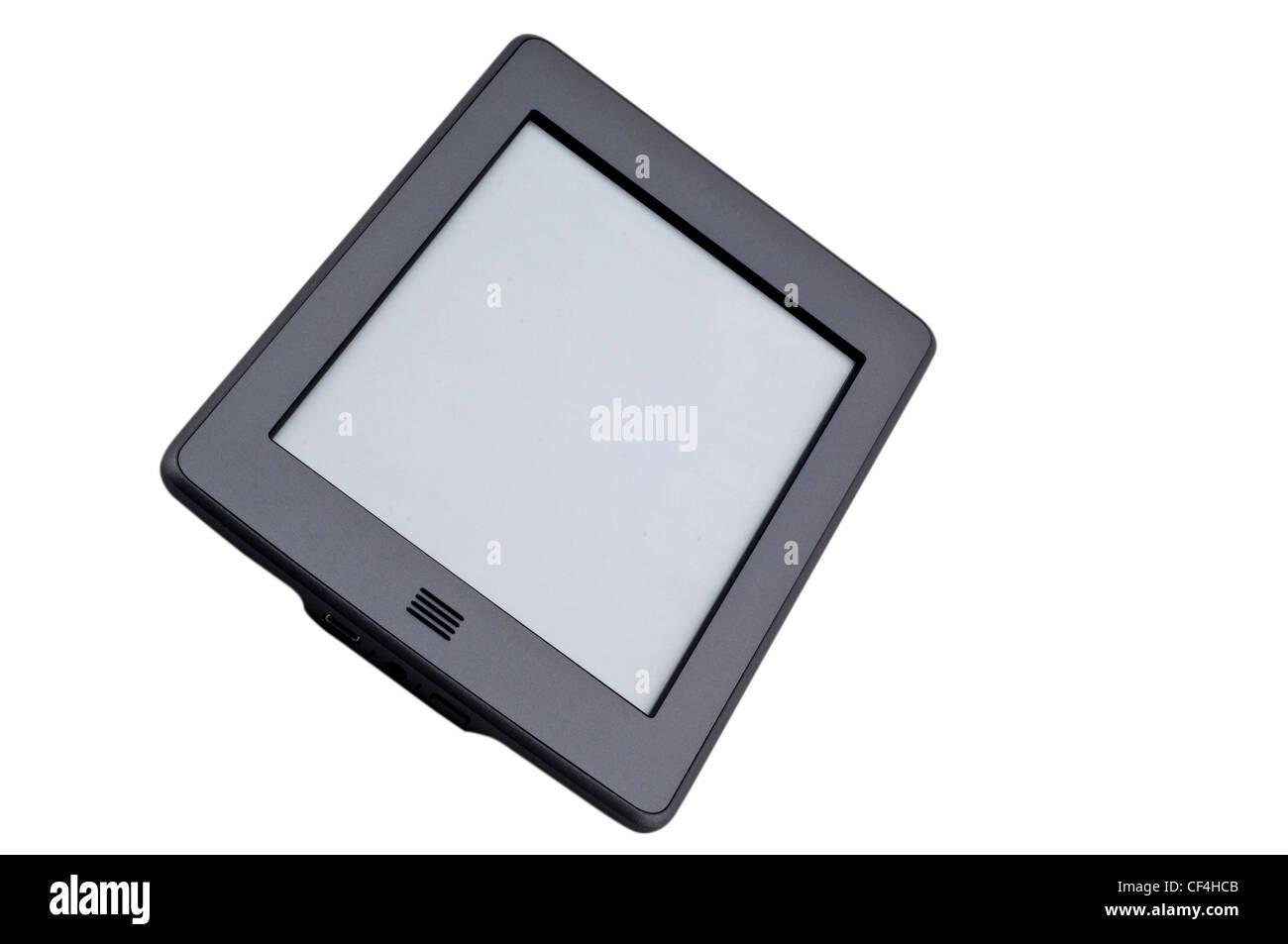 Ebook reader device on isolated white background - Stock Image