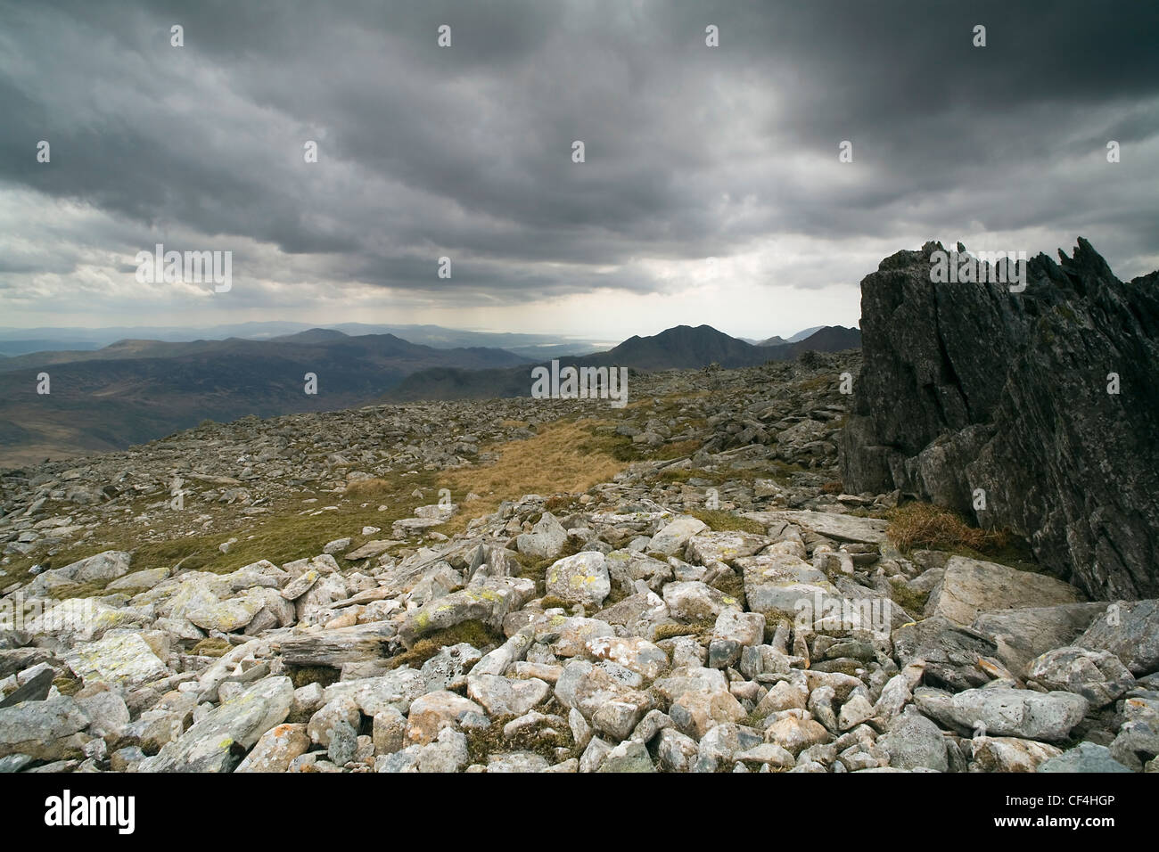 View from the summit of Glyder Fawr. At approximately 3,277ft this is the highest peak in the compact Glyder range. - Stock Image