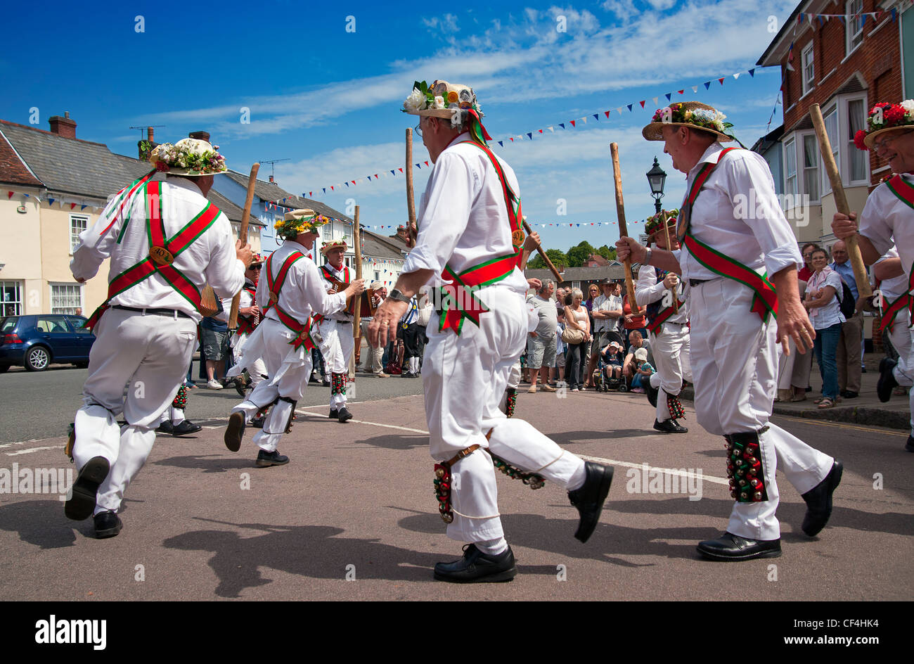 Morris Dancing at the Centenary Morris Dancing Festival in Thaxted. 2011 is the centenary of the founding in December - Stock Image