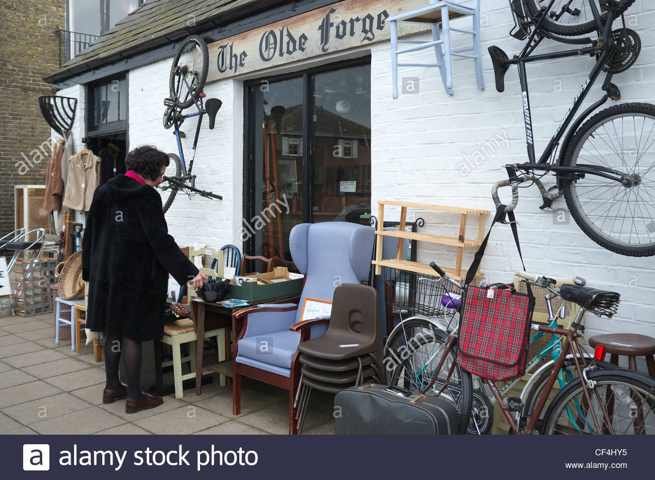 The Olde Forge second hand shop in the High Street, Deal, Kent, UK. - Stock Image