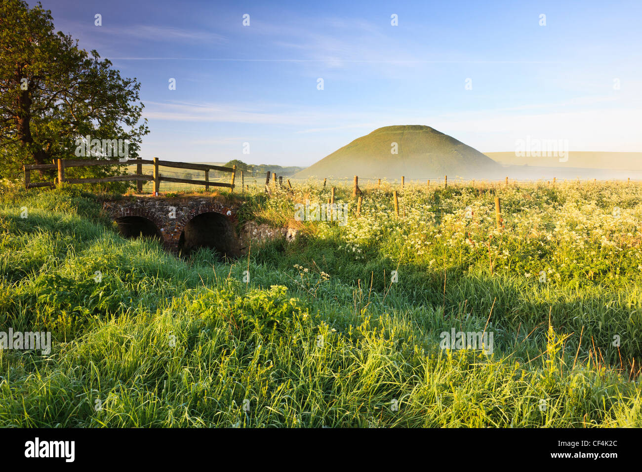 Silbury Hill, an artificial chalk mound, the tallest prehistoric human-made mound in Europe, on a misty summer morning. - Stock Image