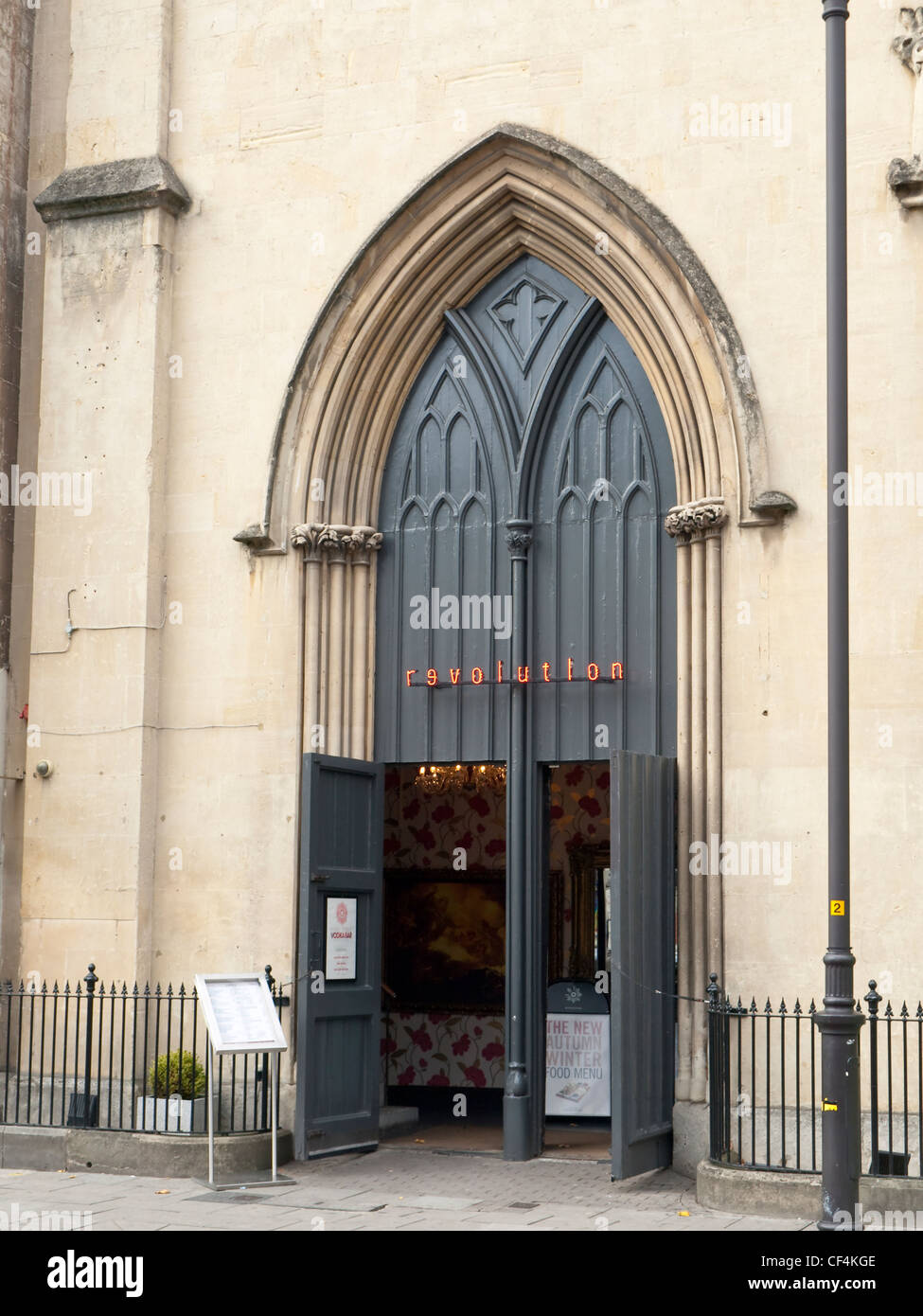 Gothic Pointed Arch Entrance To The Revolution Bar In Clarence Parade Cheltenham Formerly Salem Baptist Church