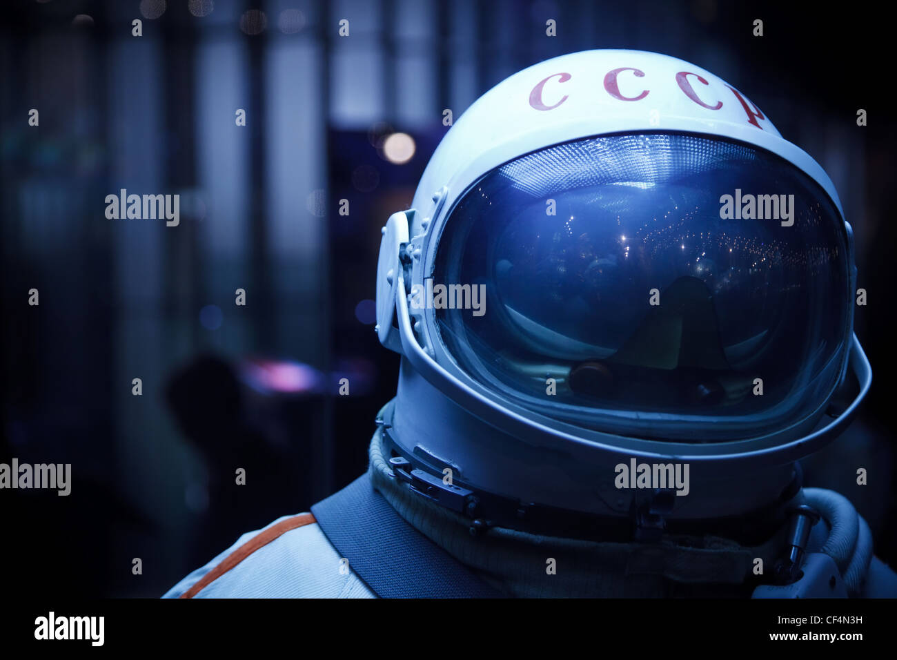 MOSCOW RUSSIA NOVEMBER 8: Space Museum Photo spacesuit Inscription on helmet USSR Close-up November 8 2009 in Moscow - Stock Image