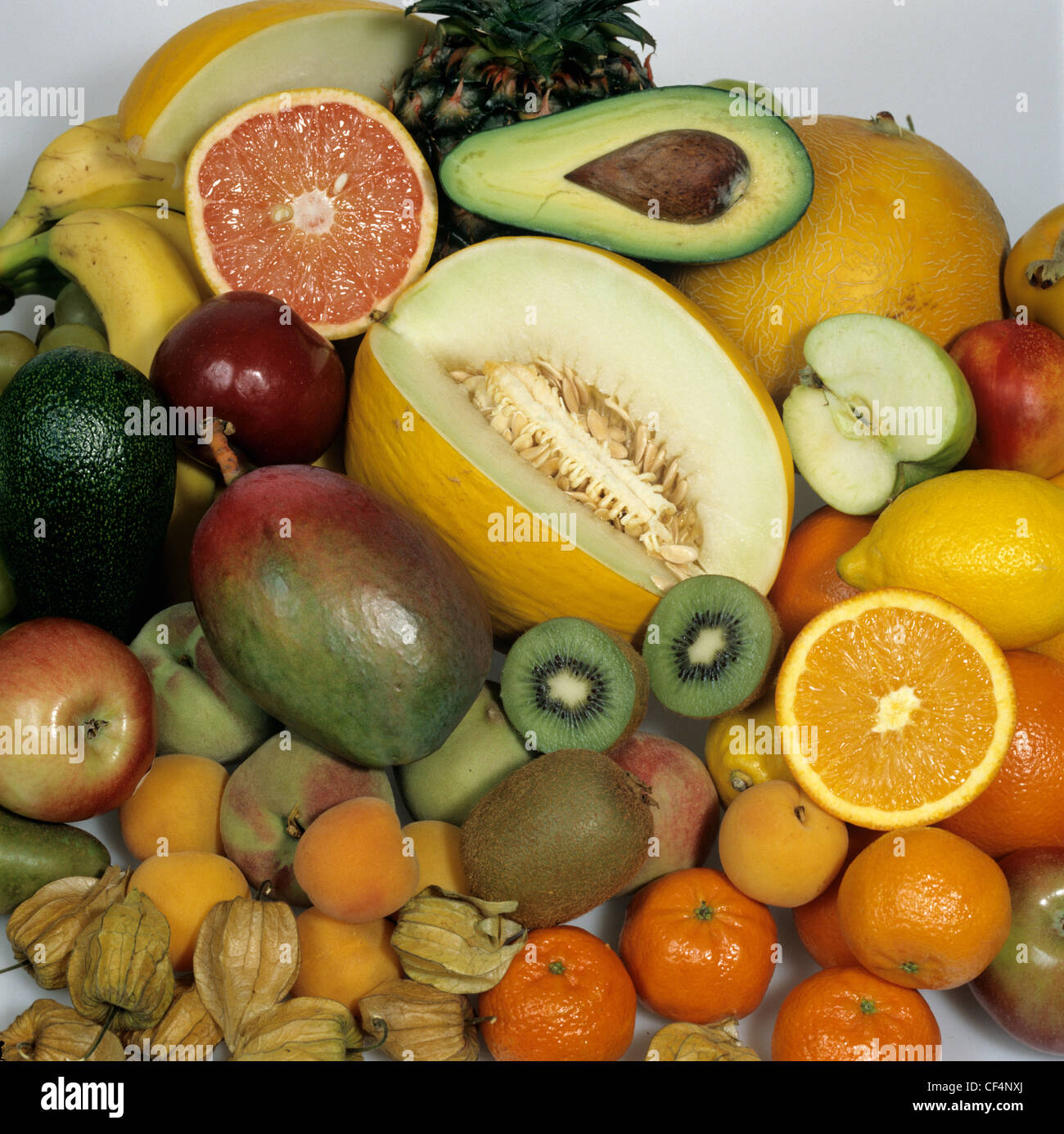 Tropical fruits bought in a supermarket Stock Photo