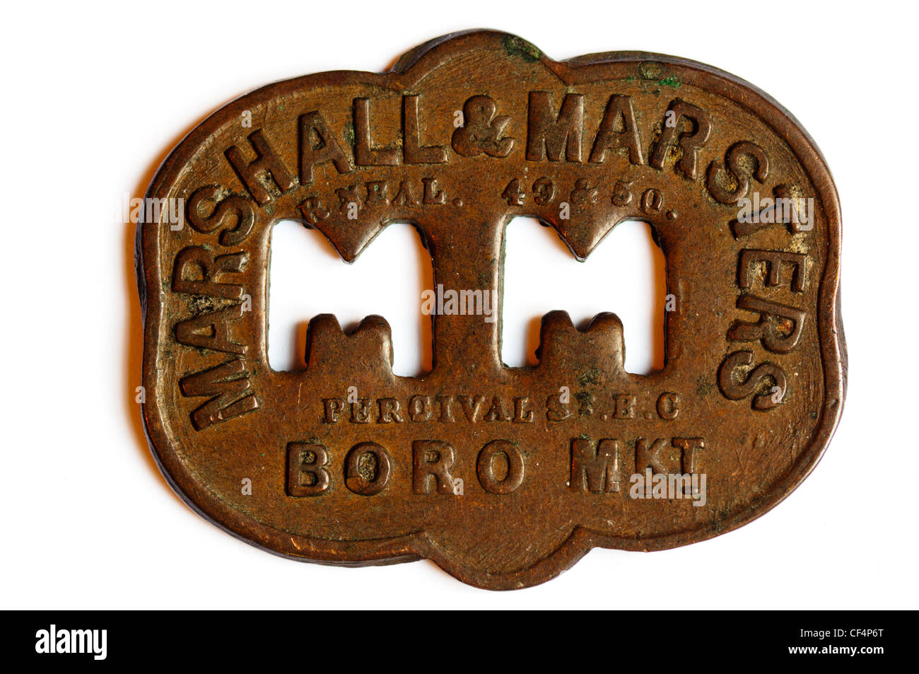 A market token, used by Marshall & Marsters of Borough Market.  SEE DESCRIPTION FOR DETAILS. - Stock Image