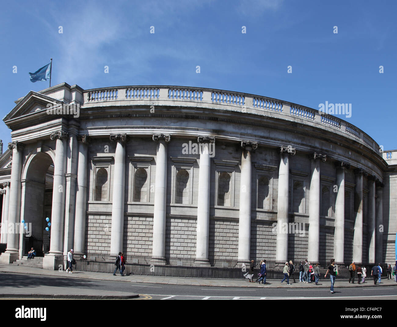 The Bank of Ireland in Dublin. The building was designed by Sir Edward Lovett Pearce in 1729 to house the Irish Stock Photo