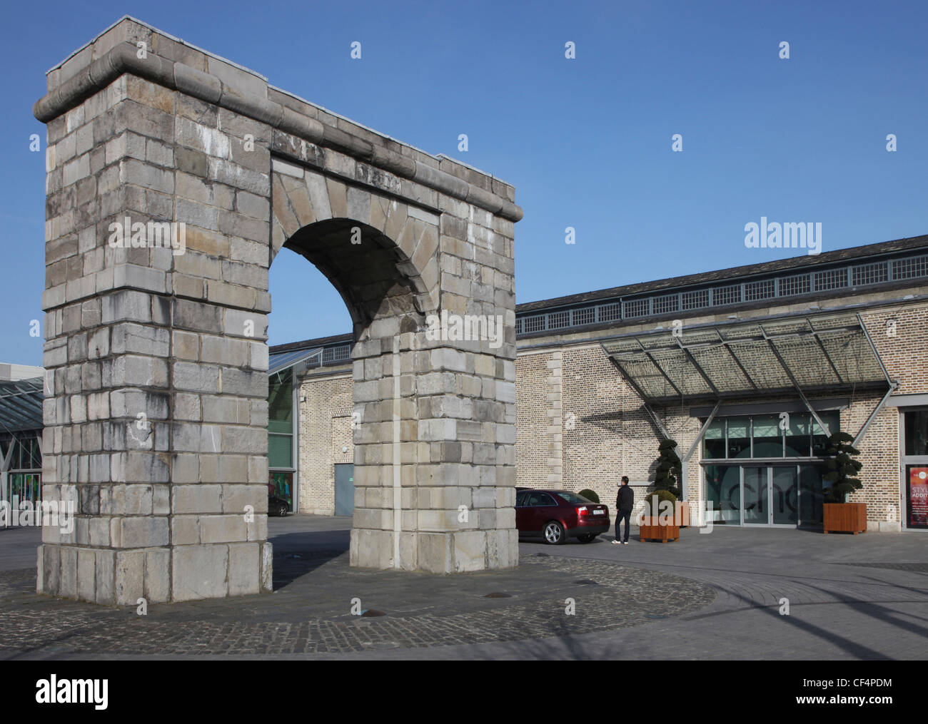 The chq building by a Georgian arch, North Wall, Docklands, Dublin. - Stock Image