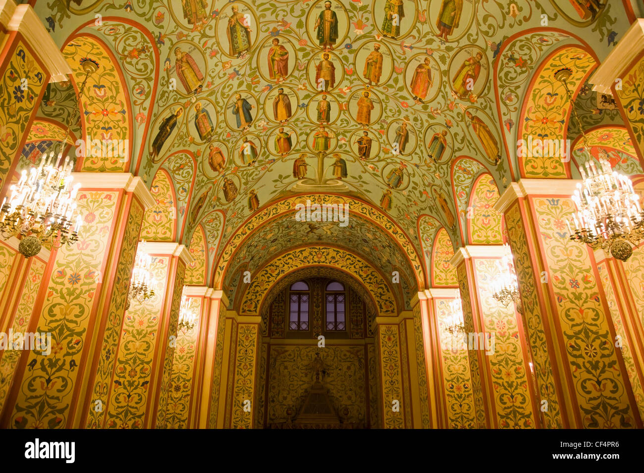 beautiful religious painting on walls and ceiling in historical ...