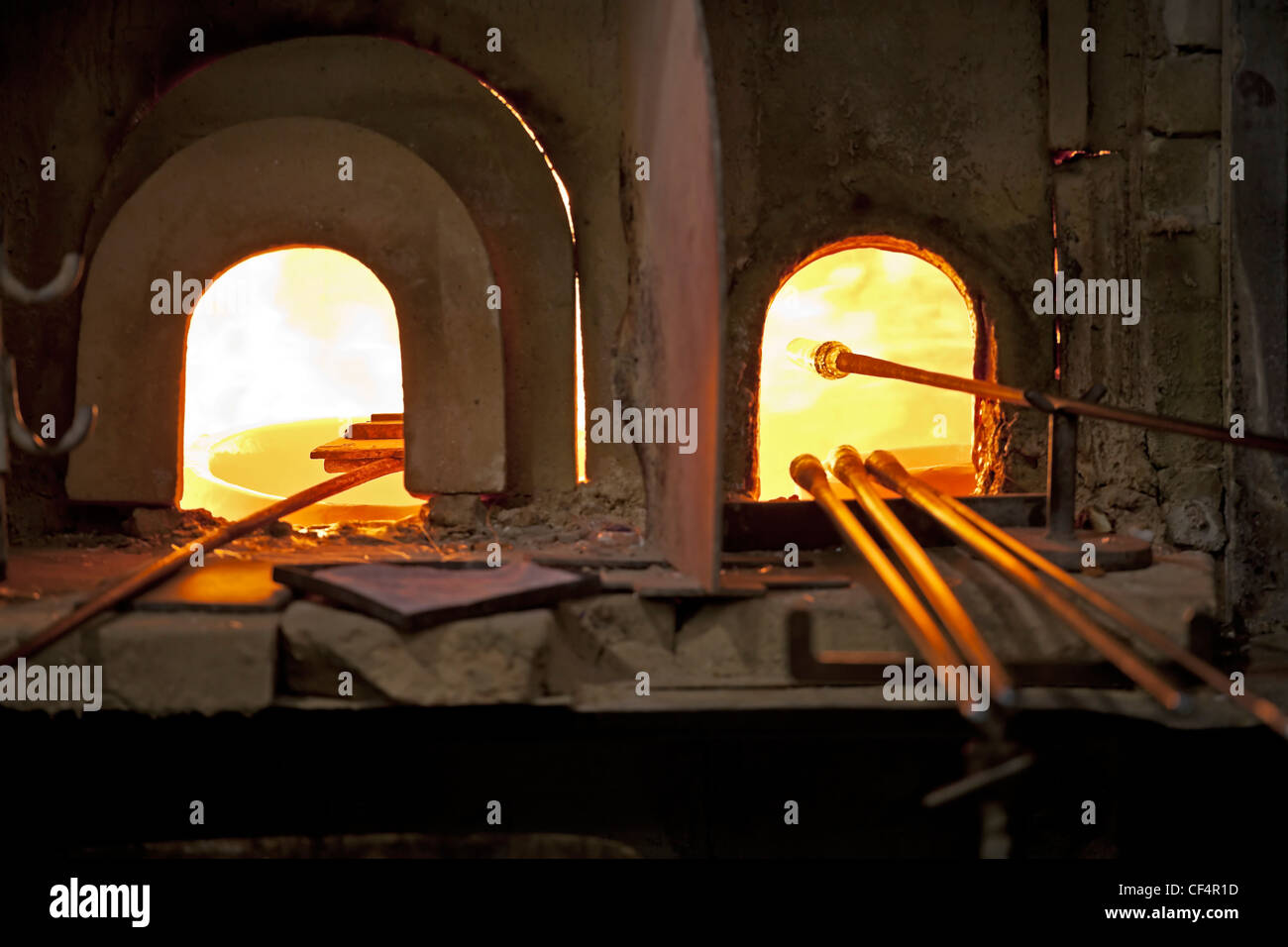 Furnace of a glass blower on Murano, Veneto, Italy - Stock Image