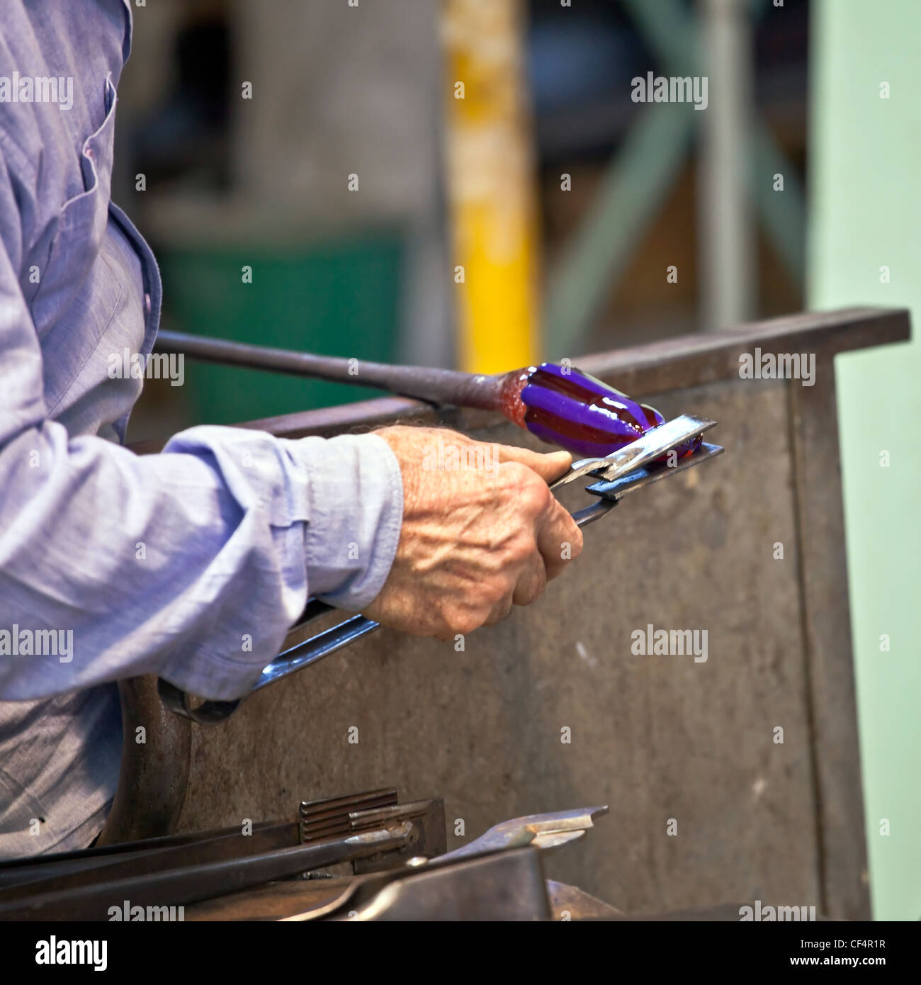 Glass blowers at work - Stock Image