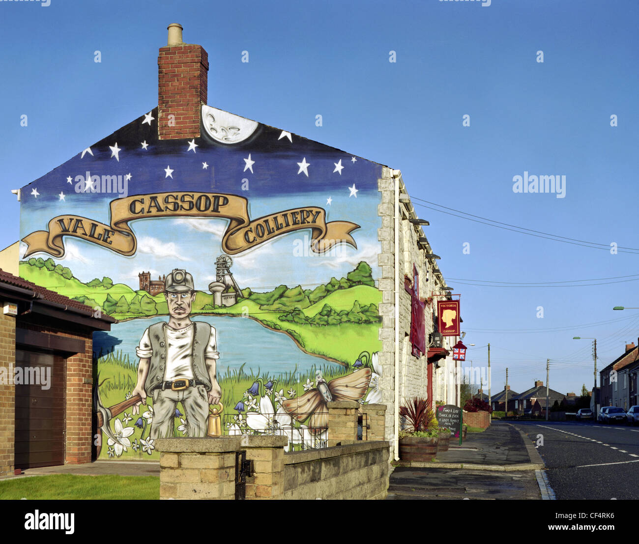 Cassop Vale Colliery mural at the end of the Victoria Inn pub. Stock Photo