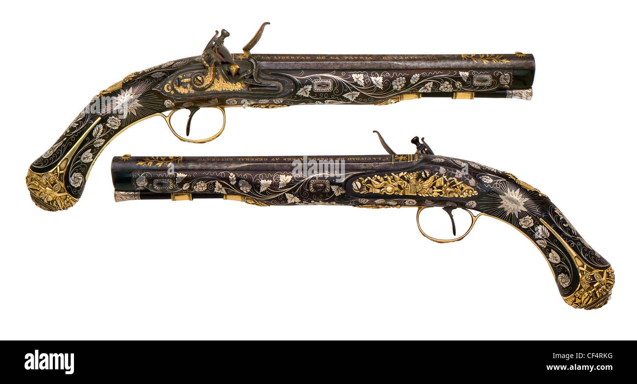 Argentinian General Belgrano 16 bore Flintlock Pistols by Tatham & Egg of London, circa 1814. (Higher Dynamic - Stock Image