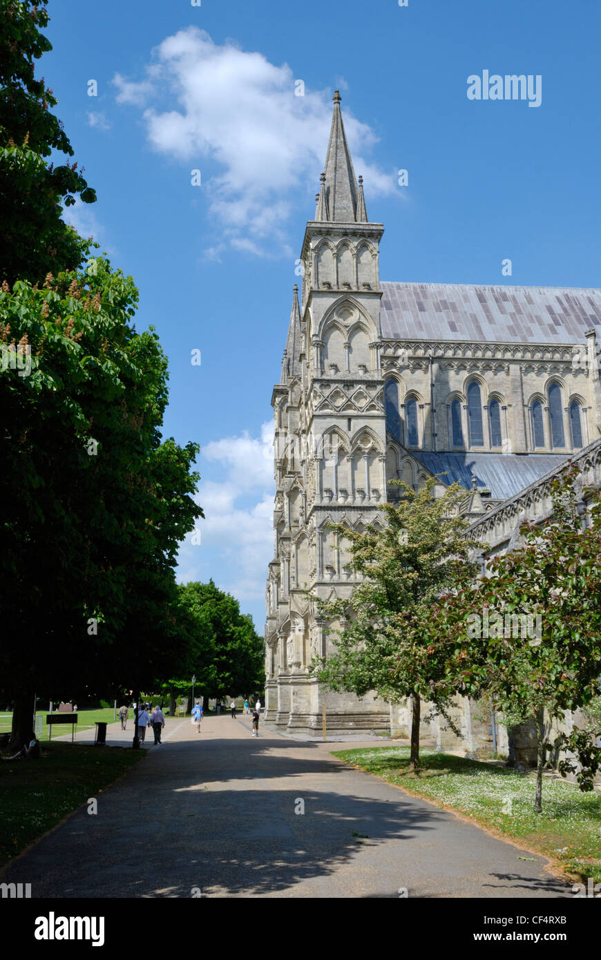 Salisbury Cathedral, one of the finest medieval cathedrals in Britain. Stock Photo