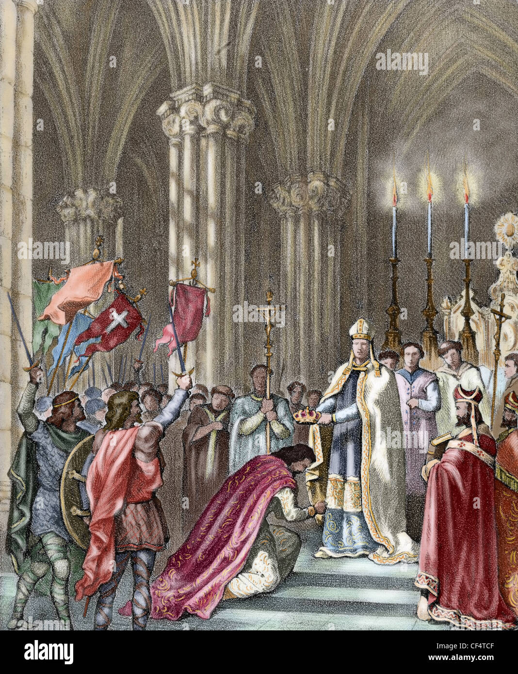 Alfonso VII (1105-1157), called the Emperor. Ceremony with his proclamation as Emperor of Spain in the Cathedral - Stock Image