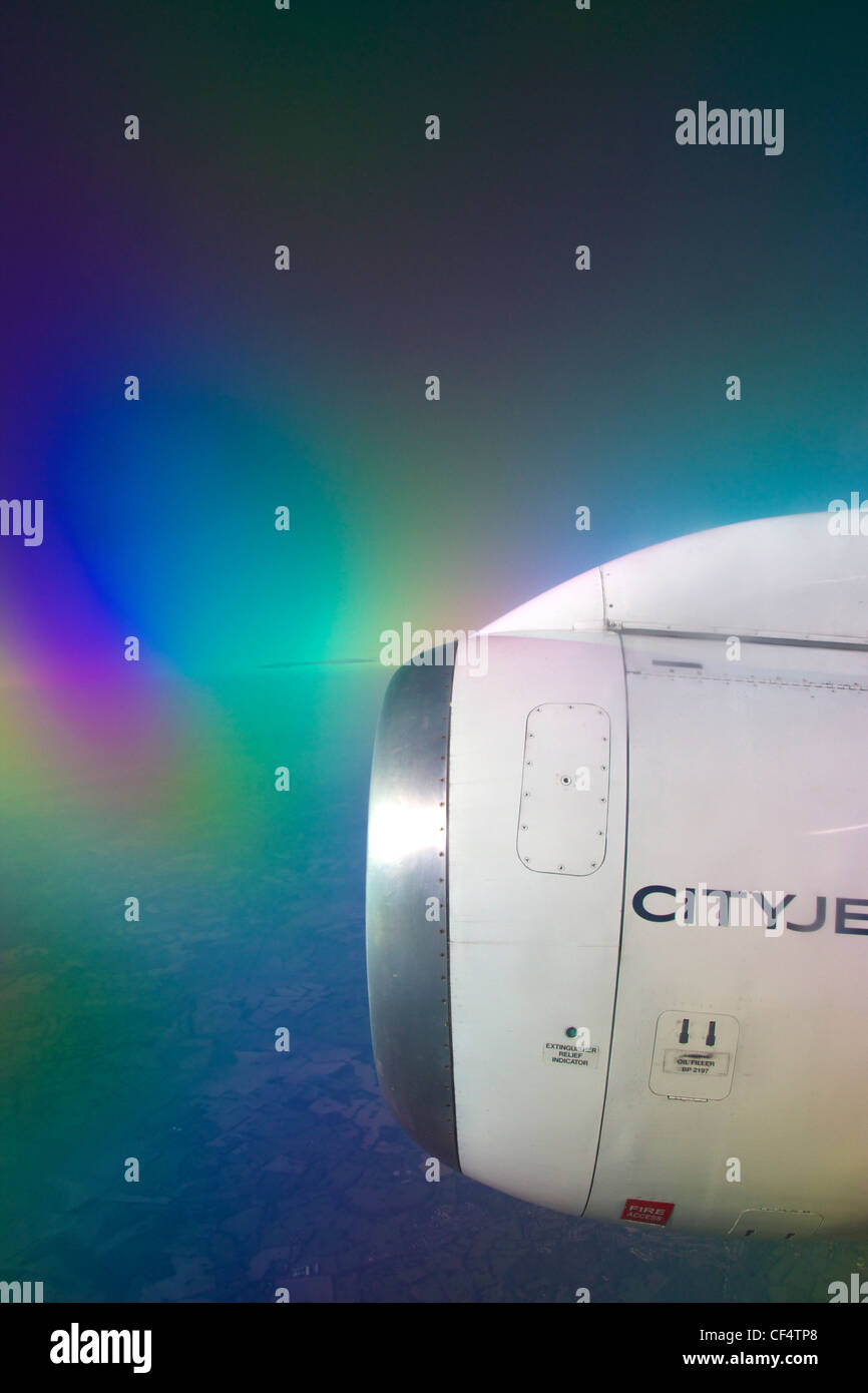 Jet engine on cityjet passenger aircraft over France, Europe - Stock Image