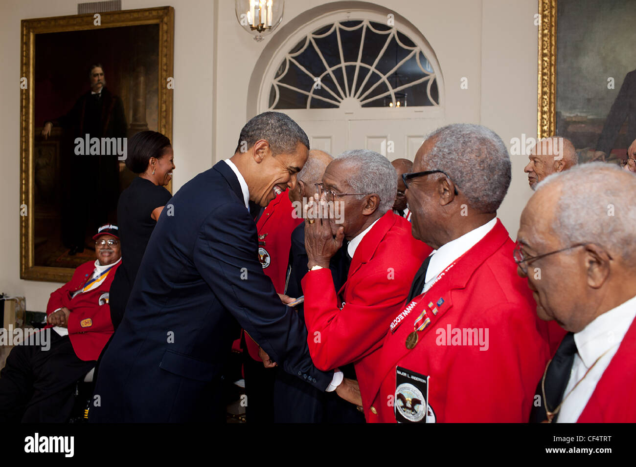In the east garden room of the white house stock photos in the president barack obama and first lady michelle obama greet tuskeegee airmen in the east garden room m4hsunfo