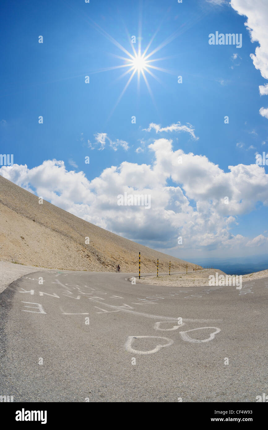 France, Mediterranean Area, Provence, Vaucluse, Road at mont ventoux with love symbol - Stock Image