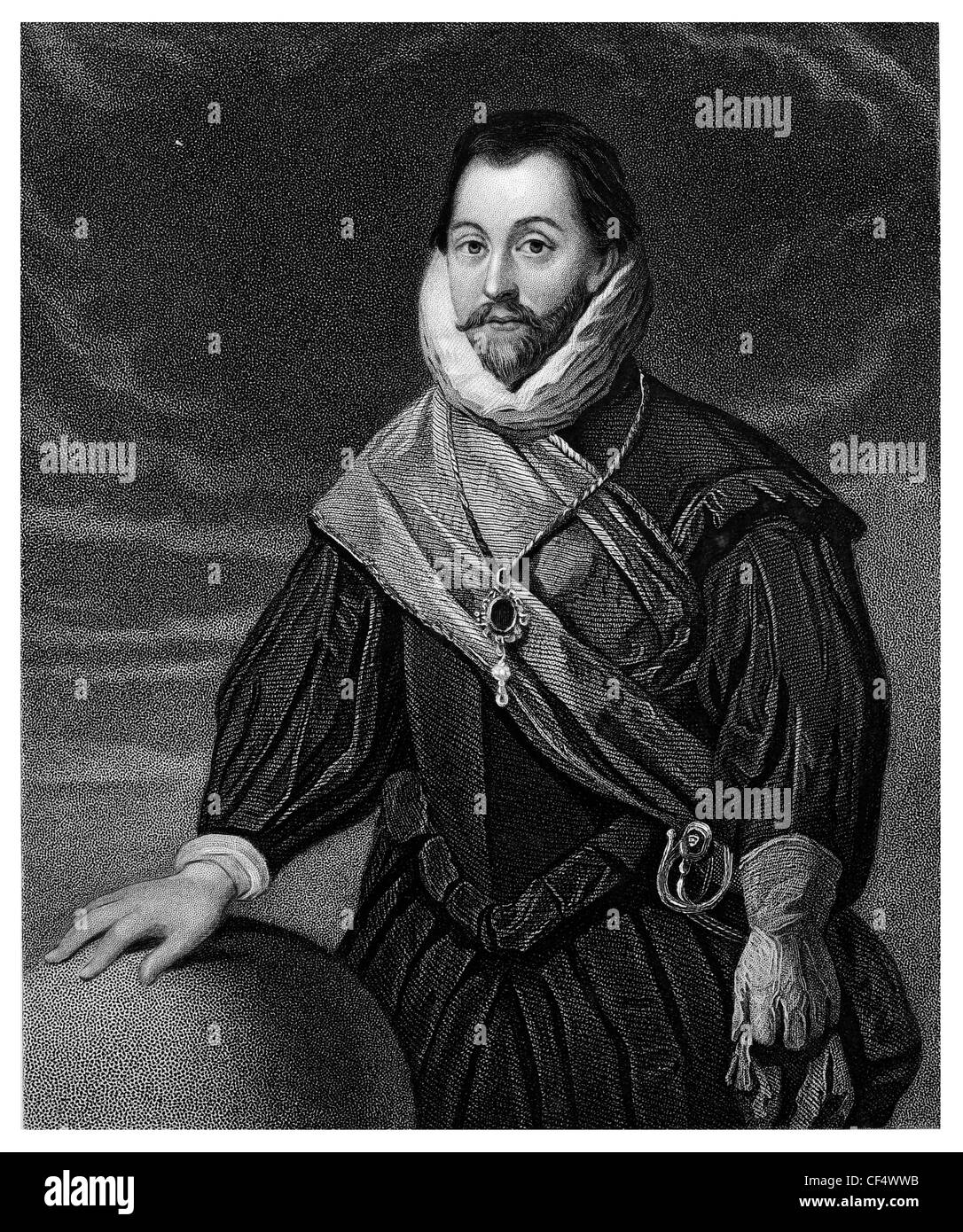 Sir Francis Drake Vice Admiral English sea captain privateer navigator slaver politician Elizabethan era Spanish - Stock Image
