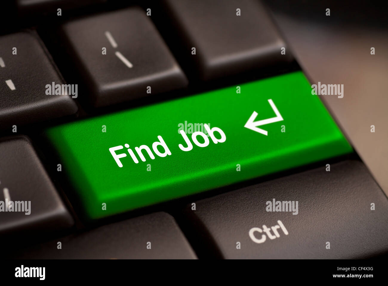 the green find job enter button key - Stock Image